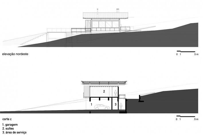 Residência Piracaia, elevação nordeste e corte c, Piracaia SP Brasil, 2012-2014. Arquitetos Lua Nitsche e Pedro Nitsche <br />Imagem divulgação  [Nitsche Arquitetos Associados]