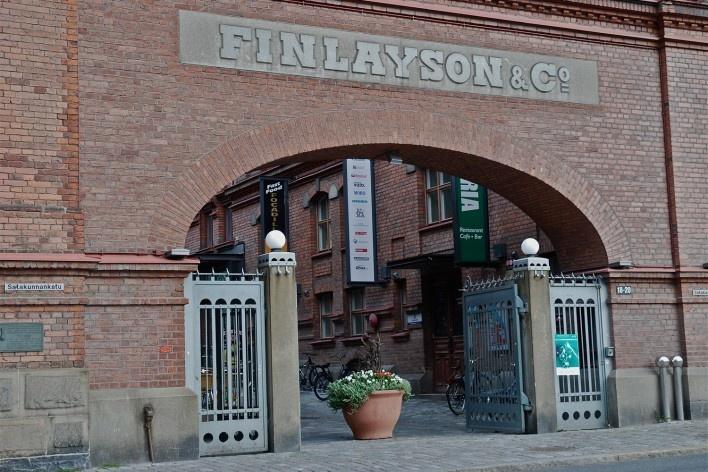 Aspecto de portada de acesso a Finlayson & Co area<br />Foto Fabio Lima