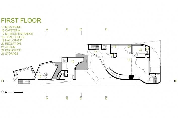 Sede da Fundação Iberê Camargo, planta do 1º pavimento. Arquiteto Álvaro Siza, 2008<br />Desenho escritório