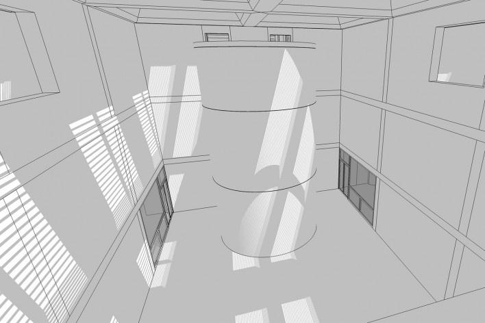 Vista do átrio de exposições<br />Elaboração Edson Mahfuz
