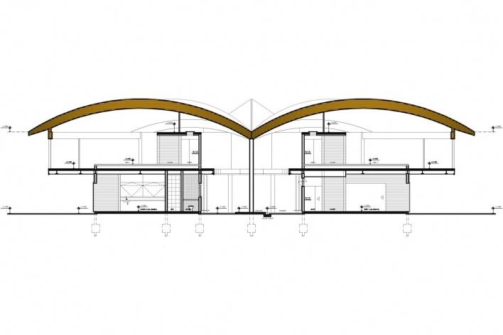 Casa Folha, corte transversal, Angra dos Reis RJ. Mareines + Patalano Arquitetura, 2008<br />Desenho Mareines + Patalano Arquitetura