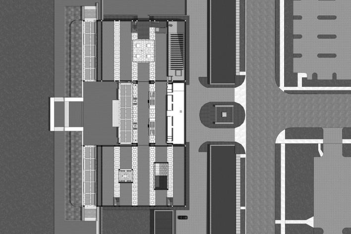 Museu de Arte Kimbell, planta térreo, Fort Worth, Texas, EUA, 1972. Arquiteto Louis I. Kahn<br />Modelo tridimensional Miguel Bernardi / Imagem Edson Mahfuz