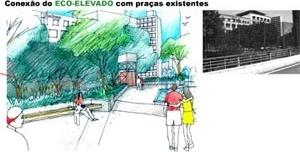Conexão do Eco-elevado com praças existentes<br />Imagem do autor do projeto