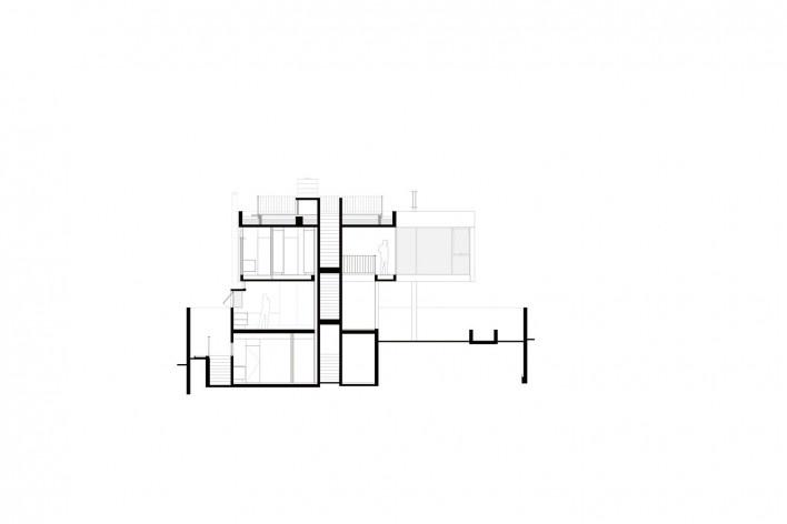 Casa Villa Lobos, corte cc, 2018, São Paulo SP Brasil. Arquitetos Cristiane Muniz, Fabio Valentim, Fernanda Barbara e Fernando Viégas/ Una Arquitetos<br />Imagem divulgação  [Acervo Una Arquitetos]