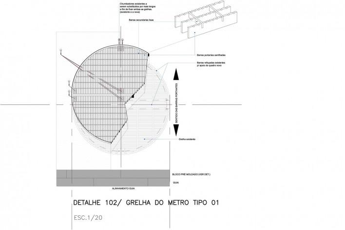 Ciclovia Paulista/ Isométrica das grelhas de ventilação do metrô. Sobrepostas as existentes.<br />Studio GGA