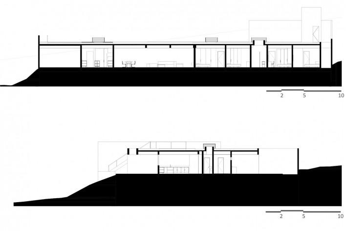 Casa Torreão, cortes, Brasília DF, arquitetos Daniel Mangabeira, Henrique Coutinho e Matheus Seco<br />Imagem divulgação