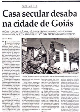 Jornal de Goiânia noticia o desmoronamento<br />Acervo Público
