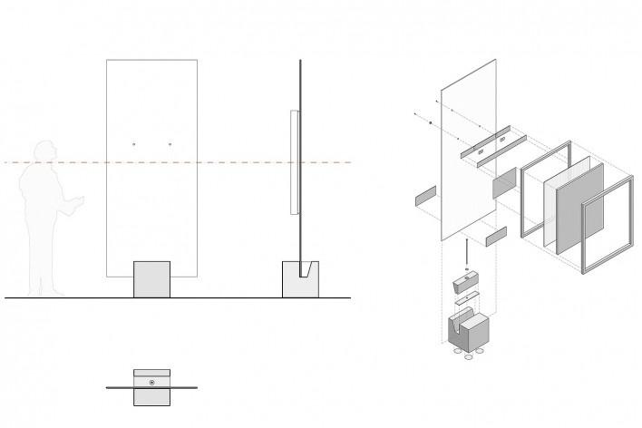 Cavaletes de vidro reconstruídos, vista frontal, vista lateral, em planta e axonométrica. Metro Arquitetos