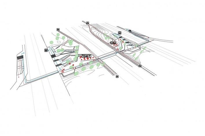 Tipo 2: tipo 1 + dobra do platô em uma das passagens. Concurso Passagens sob o Eixão. Primeiro colocado<br />divulgação