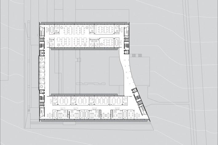 Sede do Sebrae Nacional, planta pavimento 2 – nível 1073,55, Brasília DF, 2010. Arquitetos Alvaro Puntoni, Luciano Margotto, João Sodré e Jonathan Davies