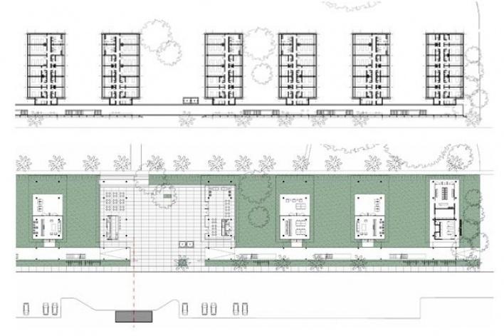Dormitórios e alojamentos para professores e estudantes, plantas térreo e primeiro piso. Sic Arquitetura, 2008<br />Desenho escritório