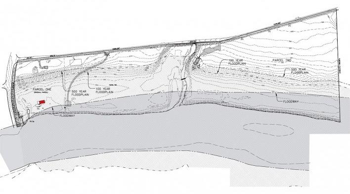 Mapa de localização da Casa Edith Farnsworth, marcada em vermelho, em relação ao rio Fox em fase de inundação [National Trust for Historic Preservation]