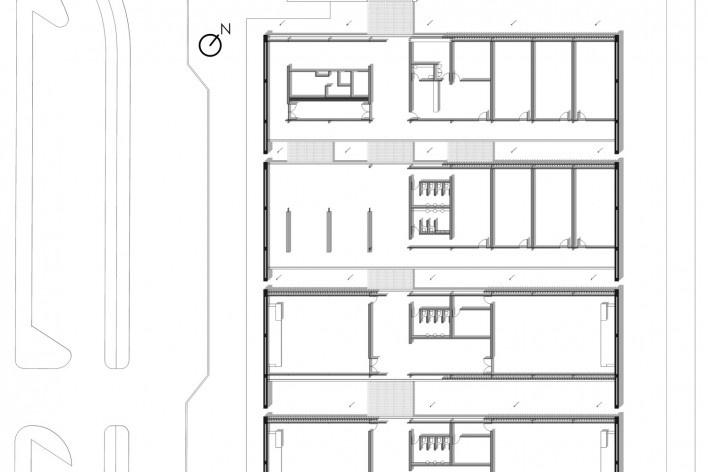 Aulário 3 (unidade de Alicante), planta térreo (detalhe), San Vicente del Raspeig, Alicante, Espanha, 2000. Arquiteto Javier Garcia-Solera<br />Imagem divulgação  [Acervo Javier Garcia-Solera]