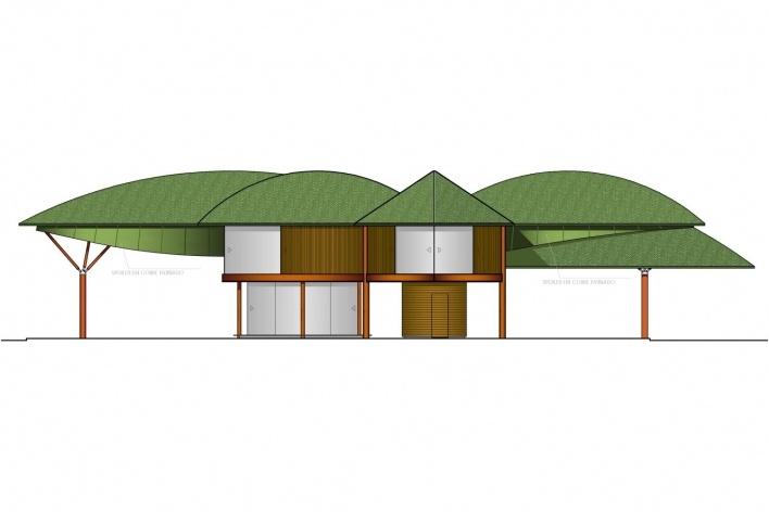 Casa Folha, elevação, Angra dos Reis RJ. Mareines + Patalano Arquitetura, 2008<br />Desenho Mareines + Patalano Arquitetura