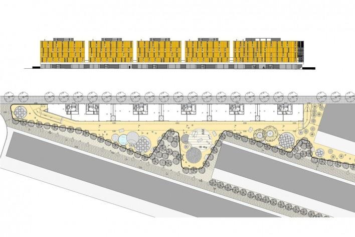 Conjunto Habitacional Fira de Barcelona – L'Hospitalet de Llobregat, fachada norte e planta térreo do conjunto com praça, Barcelona 2009. ONL Arquitectura<br />Imagem divulgação