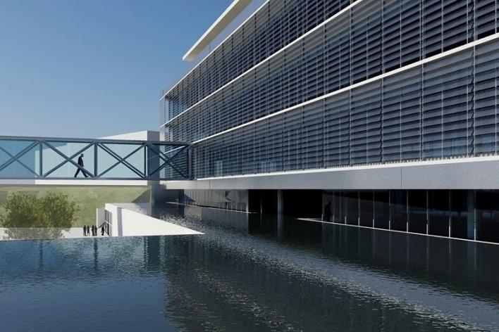 Centro de Referência em Empreendedorismo do Sebrae-MG, vista do acesso principal, menção honrosa. Arquiteto Marcos Alexandre Jobim, 2008<br />Desenho escritório
