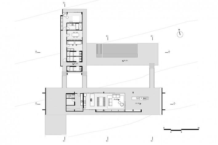 Casa Vila Rica, planta, Brasília DF Brasil, 2017. Arquitetos Daniel Mangabeira, Henrique Coutinho e Matheus Seco / Bloco Arquitetos<br />Imagem divulgação  [Bloco Arquitetos]