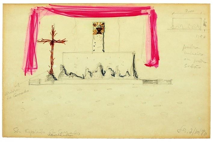 Igreja Espírito Santo do Pinhal, croquis da arquiteta Lina Bo Bardi, Uberlândia, 1976<br />Imagem divulgação  [Instituto Bardi]