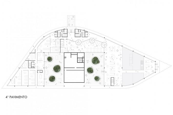 Concurso Anexo da Biblioteca Nacional, planta pavimento 4, Rio de Janeiro, 3º lugar, arquiteto Renato Dal Pian<br />Imagem divulgação