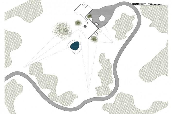 Casa Shodhan, implantação, Ahmedabad, Gujarat, Índia, 1951-56. Arquiteto Le Corbusier<br />Reprodução/reproducción  [Website historiaenobres.net]