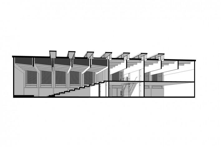 Saint Catherine's College, corte perspectivado do auditório, Oxford, Inglaterra, 1959-1964, arquiteto Arne Jacobsen<br />Modelo tridimensional de Edson Mahfuz e Ana Karina Christ