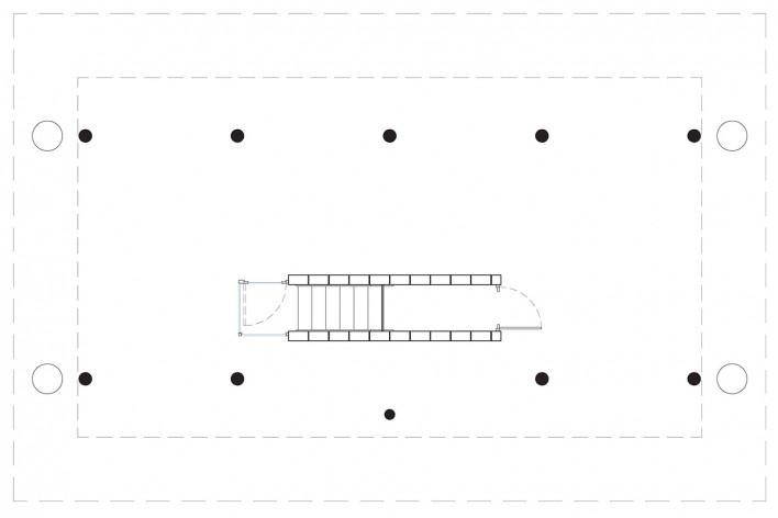Vila Taguaí, planta terraço das casas 2, 5 e 7, Carapicuiba SP, 2007-2010. Arquitetos Cristina Xavier (autora), Henrique Fina, Lucia Hashizume e João Xavier (colaboradores)