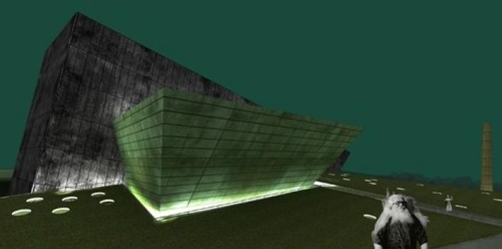 Vista frontal com volume do grande teatro em primeiro plano<br />Imagem do autor do projeto