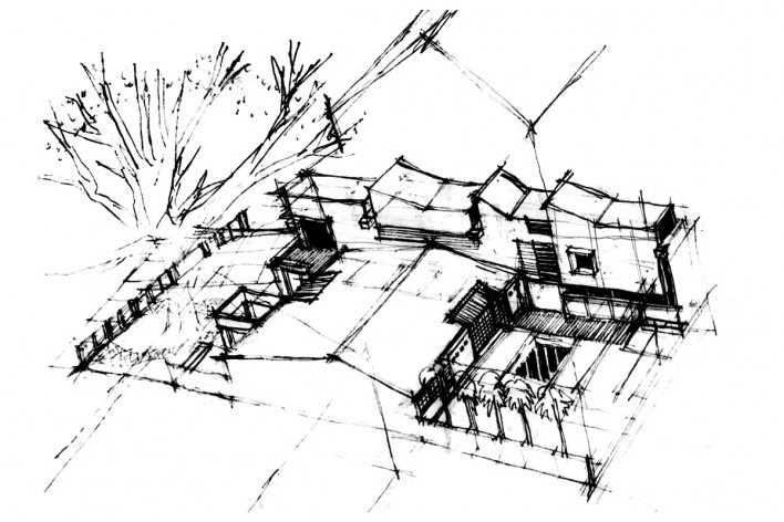 Casa de Ipanema, croqui da volumetria, Sergio M. Marques, 2007/2009<br />Desenho Sergio M. Marques