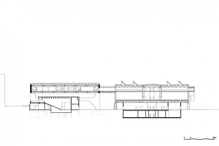 Museu Nacional dos Coches, corte transversal do anexo e do pavilhão principal, Lisboa. Arquiteto Paulo Mendes da Rocha, MMBB arquitetos e Bak Gordon arquitetos<br />Imagem divulgação
