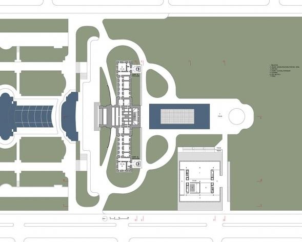 Ampliação do Museu Paulista da USP (Museu do Ipiranga), planta porão. Arquitetos Eduardo Colonelli e Silvio Oksman, 2008<br />Imagem escritório