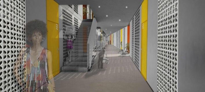 Perspectiva interna. Concurso Habitação para Todos. CDHU. Edifícios de 6/7 pavimentos - 1º Lugar.<br />Autores do projeto  [equipe vencedora]