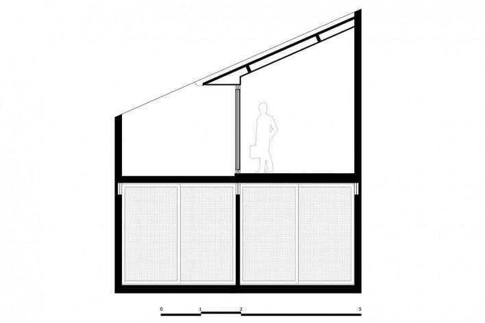 Casa 711H, corte AA, Brasília, 2017. Arquitetos Daniel Mangabeira, Henrique Coutinho e Matheus Seco<br />Desenho divulgação