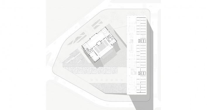 Planta: Barra Elevada - salas de aula, departamentos e espaços de estudo; Edifício Antigo - auditório, rádio e TV