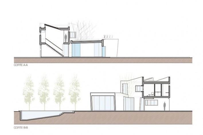 Corte AA y Corte BB. Casa V, 2011. I + GC [arquitectura]. Funes, Argentina<br />divulgação