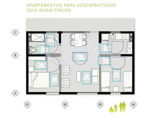 Planta apartamento para portadores de necessidades especiais. Concurso Habitação para Todos. CDHU. Edifícios de 6/7 pavimentos - 1º Lugar.<br />Autores do projeto  [equipe vencedora]
