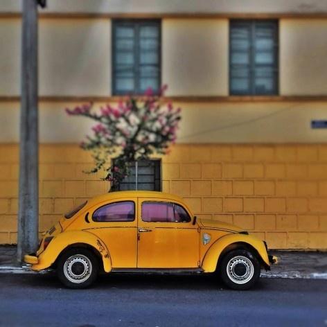 """Fusca amarelo queimado, série fotográfica """"Os fuscas ofuscam""""<br />Foto Fernando Mascaro"""