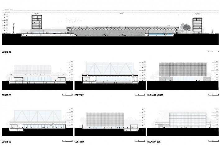 Campus Igara UFCSPA, fachadas e cortes. OSPA Arquitetura e Urbanismo<br />Imagem divulgação