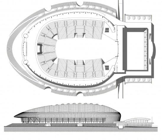 Pavilhão Atlântico, Lisboa, planta e elevação longitudinal. Arquiteto Regino Cruz + SOM