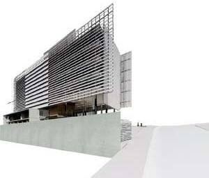 Vista do edifício a partir do vale do Ribeirão Arrudas<br />Imagem dos autores do projeto