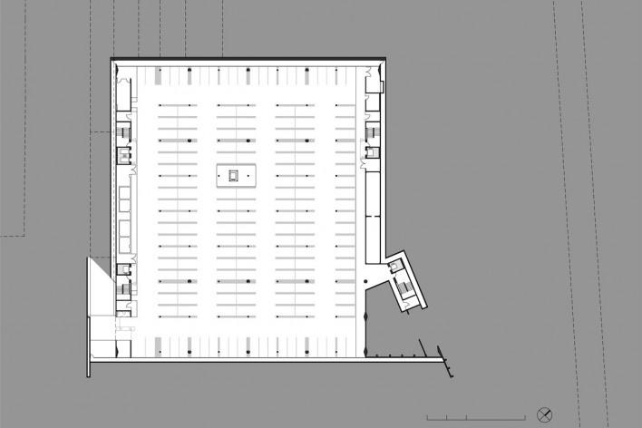 Sede do Sebrae Nacional, planta de subsolo – nível 1056,05, Brasília DF, 2010. Arquitetos Alvaro Puntoni, Luciano Margotto, João Sodré e Jonathan Davies