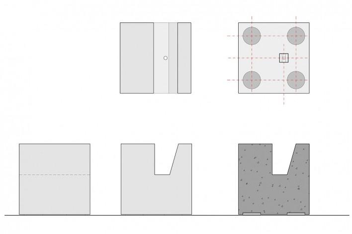 Cavaletes de vidro reconstruídos, base em concreto, planta, vista inferior, vista frontal, vista lateral e corte. Metro Arquitetos Associados