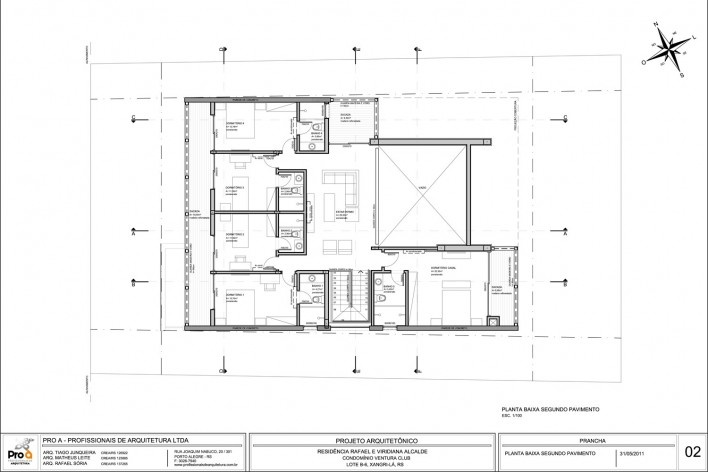 Planta 2º pavimento. Casa no Xangri-lá, 2011<br />divulgação