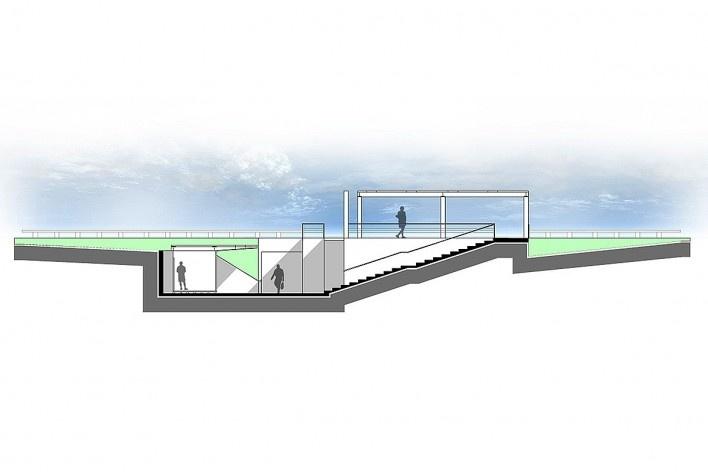 Corte transversal a passagem mostrando a grande acessibilidade proposta para que seu uso seja facilitado e dinâmico. Concurso Passagens sob o Eixão. Menção honrosa 5<br />divulgação