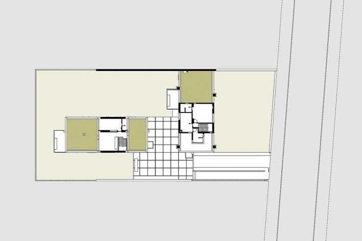 Casas Jaoul, planta segundo piso, Neuilly-sur-Seine, París, Francia, 1951-56. Arquitecto Le Corbusier<br />Elaboração Edson Mahfuz
