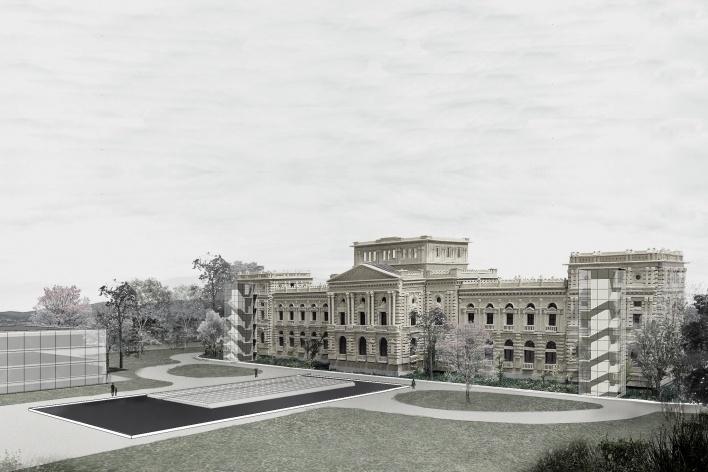 Ampliação do Museu Paulista da USP (Museu do Ipiranga), vista posterior. Arquitetos Eduardo Colonelli e Silvio Oksman, 2008<br />Imagem escritório