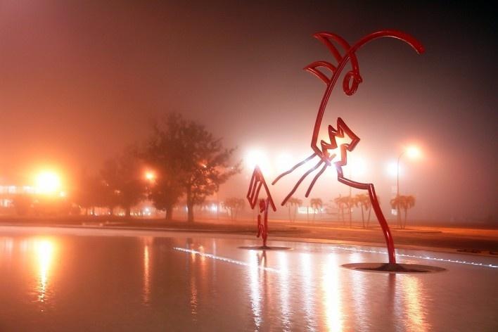 Madrugada en Plaza Niemeyer el 18 Enero 2008<br />Foto divulgação