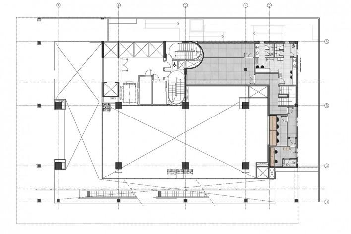 Sesc Avenida Paulista, planta mezanino, escritório Königsberger Vannucchi, 2018<br />Imagem divulgação  [Königsberger Vannucchi Arquitetos Associados]