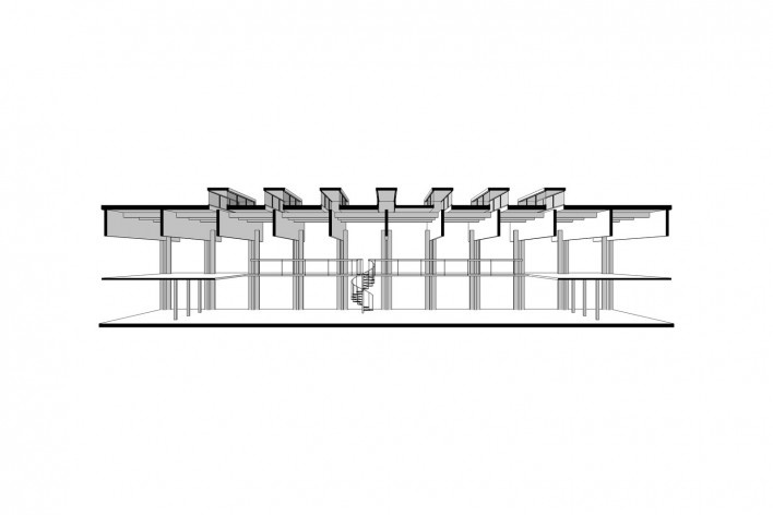 Saint Catherine's College, corte longitudinal da biblioteca, Oxford, Inglaterra, 1959-1964, arquiteto Arne Jacobsen<br />Modelo tridimensional de Edson Mahfuz e Ana Karina Christ