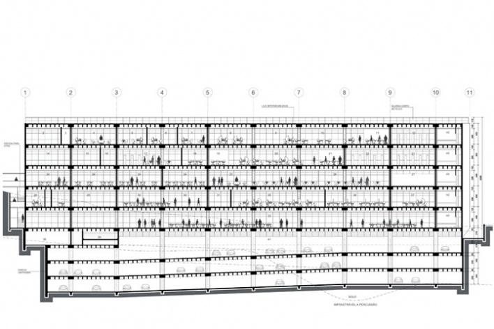 Centro de Referência em Empreendedorismo do Sebrae-MG, corte longitudinal, 2º lugar. Arquiteto Francisco Spadoni, 2008<br />Desenho escritório