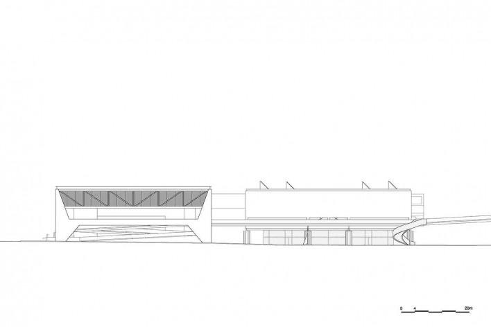 Museu Nacional dos Coches, elevação do anexo e do pavilhão principal, Lisboa. Arquiteto Paulo Mendes da Rocha, MMBB arquitetos e Bak Gordon arquitetos<br />Imagem divulgação